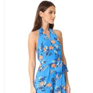 DVF Silk blue Flowery Halter jumpsuit